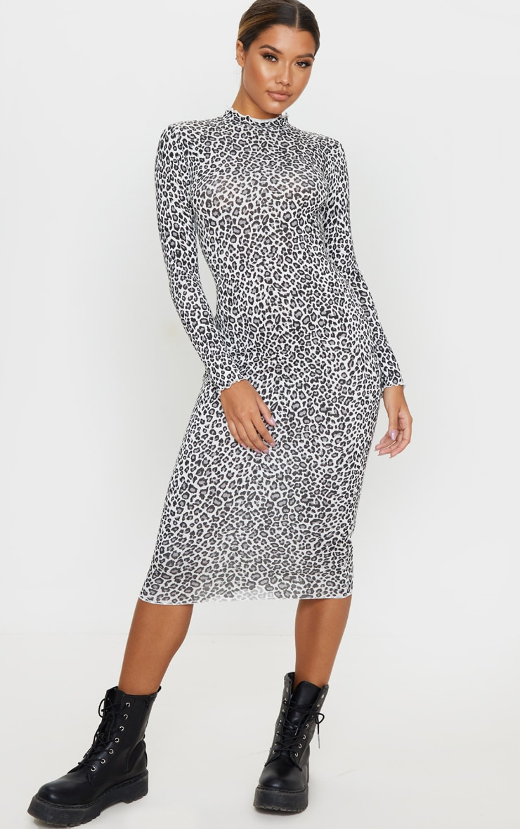 Black Leopard Print Frill Edge Midi Dress 1