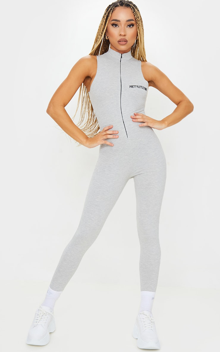 PRETTYLITTLETHING Grey Marl Embroidered Sleeveless Catsuit