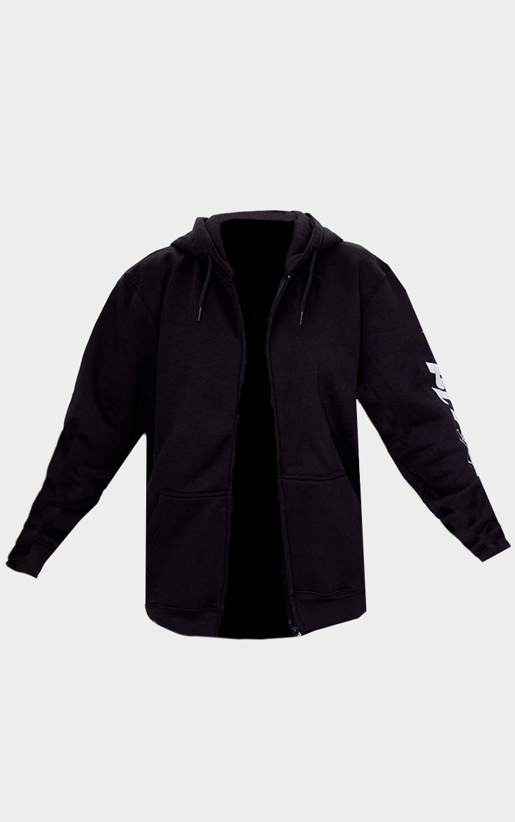 PRETTYLITTLETHING Black Zip Up Sport Hoodie 5
