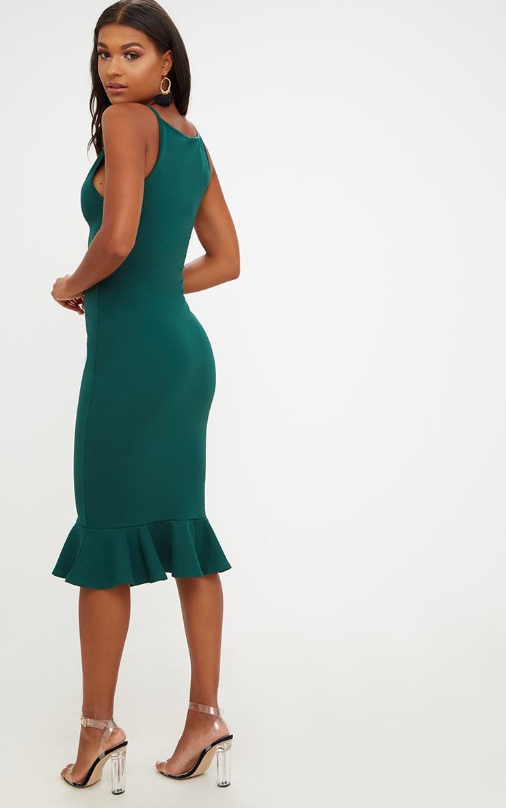 Forest Green Square Neck Frill Hem Midi Dress 2