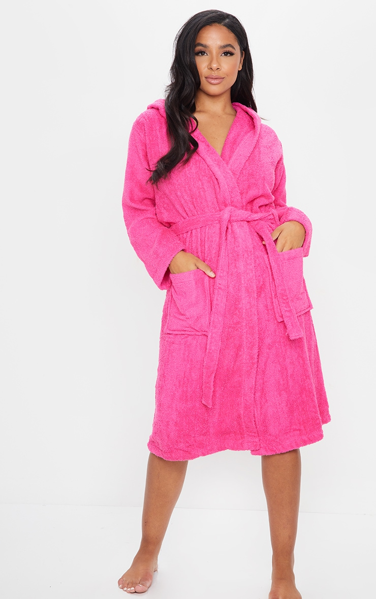 Hot Pink Towelled Hooded Dressing Gown 3