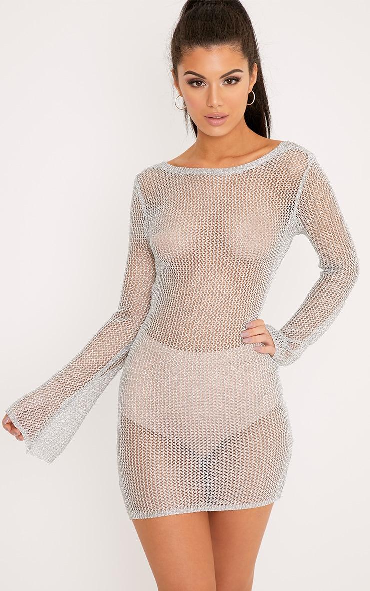 Eshe robe mini transparente à manches cloches argent métallisé 1