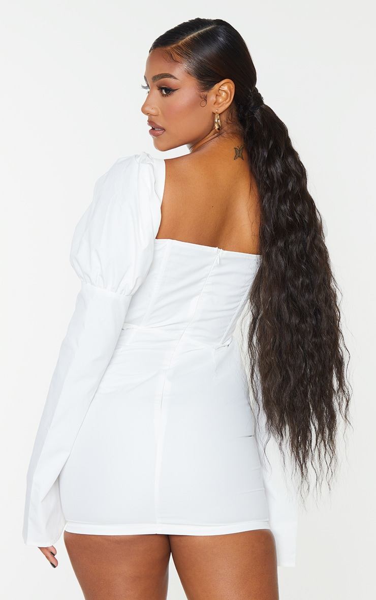 White Bell Sleeve Corset Detail Long Sleeve Bodycon Dress 2