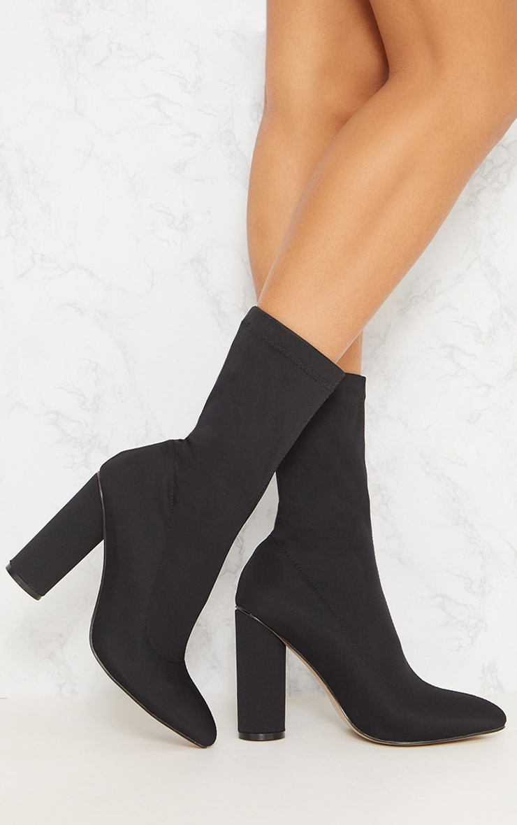 Black Block Heel Sock Boot 2