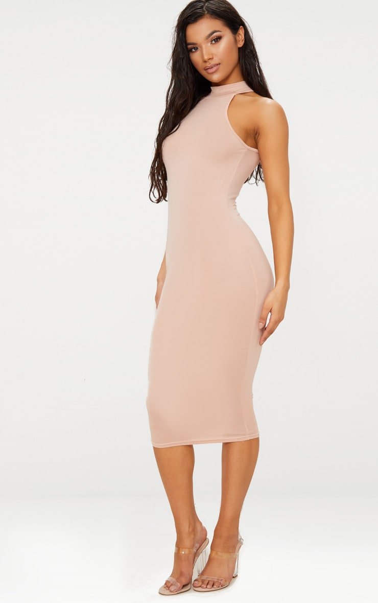 Nude High Neck Midi Dress 4