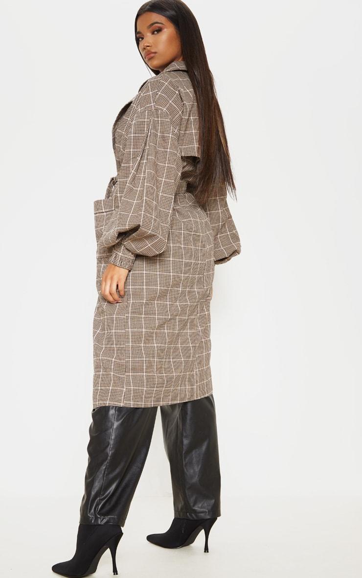 Stone Check Print Balloon Sleeve Tie Waist Trench 2