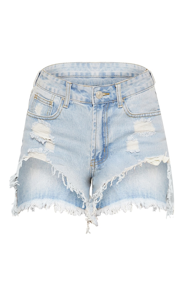 Light Wash Heavy Distressed Denim Shorts 3