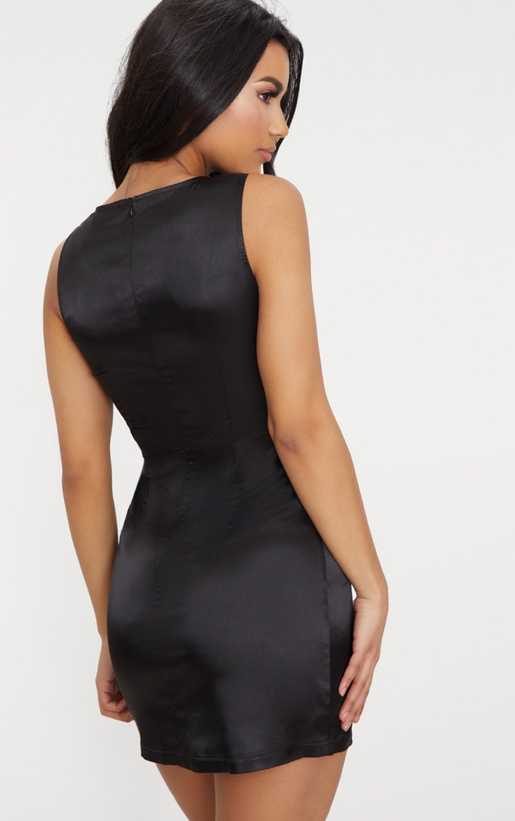 Black Satin Shift Dress 2