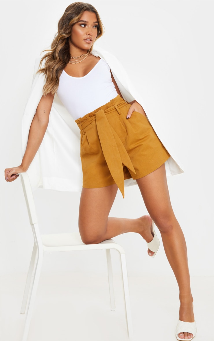 Camel Paperbag Tie Waist Tailored Shorts 4