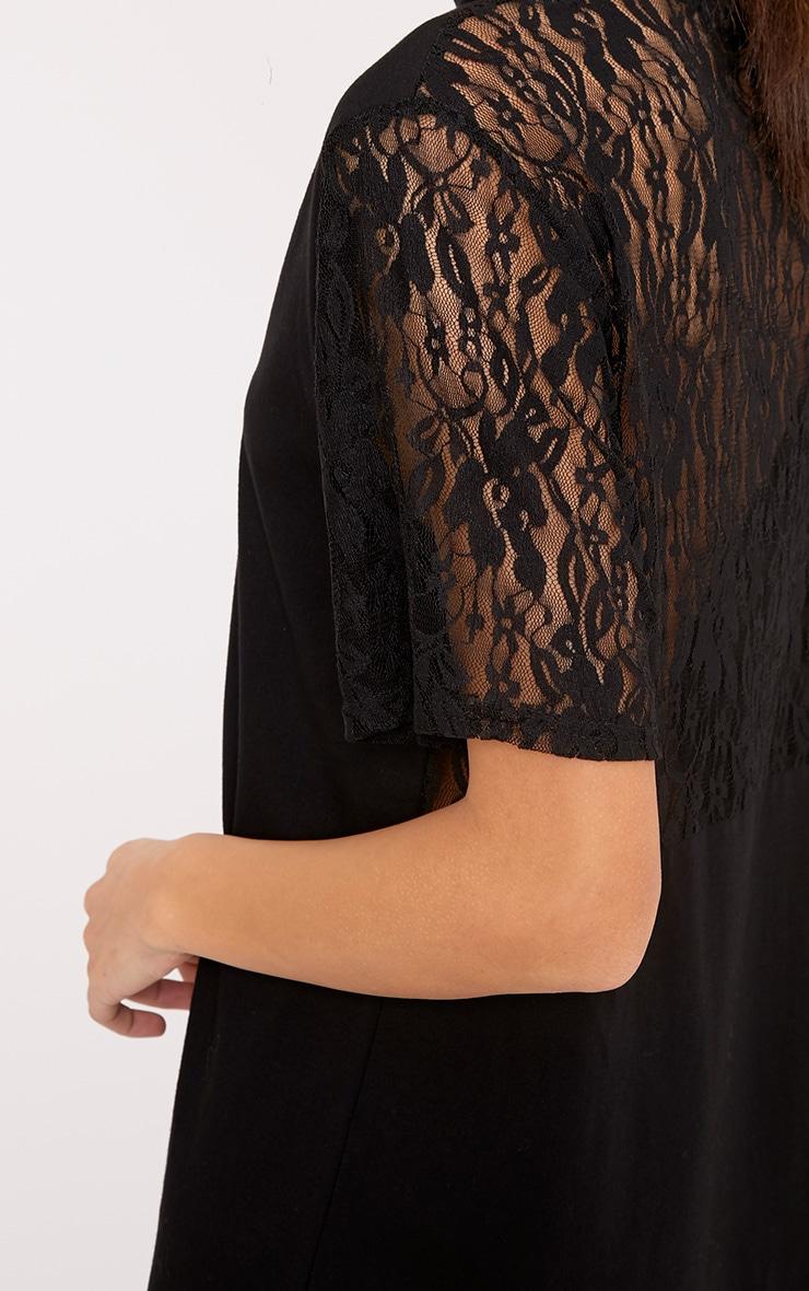 Alessa Black Lace Detail Plunge T-Shirt Dress 4