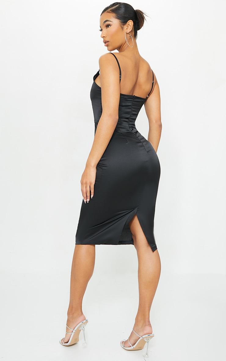 Black Strappy Lace Up Detail Midi Dress 2