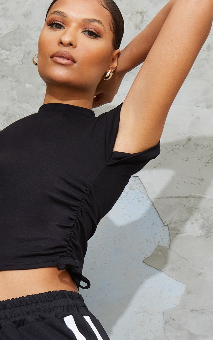 Black Cotton Folded Sleeve Ruched Side Crop Top 4