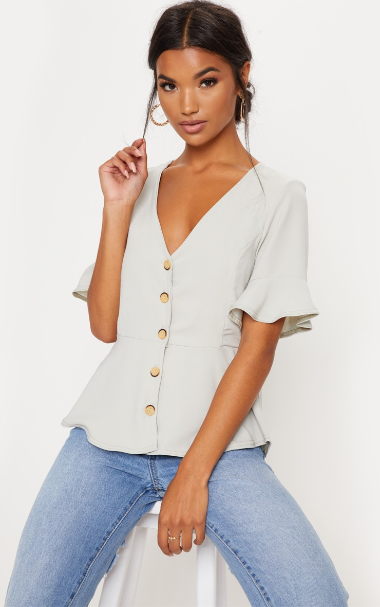 Sage Button Down Peplum Blouse
