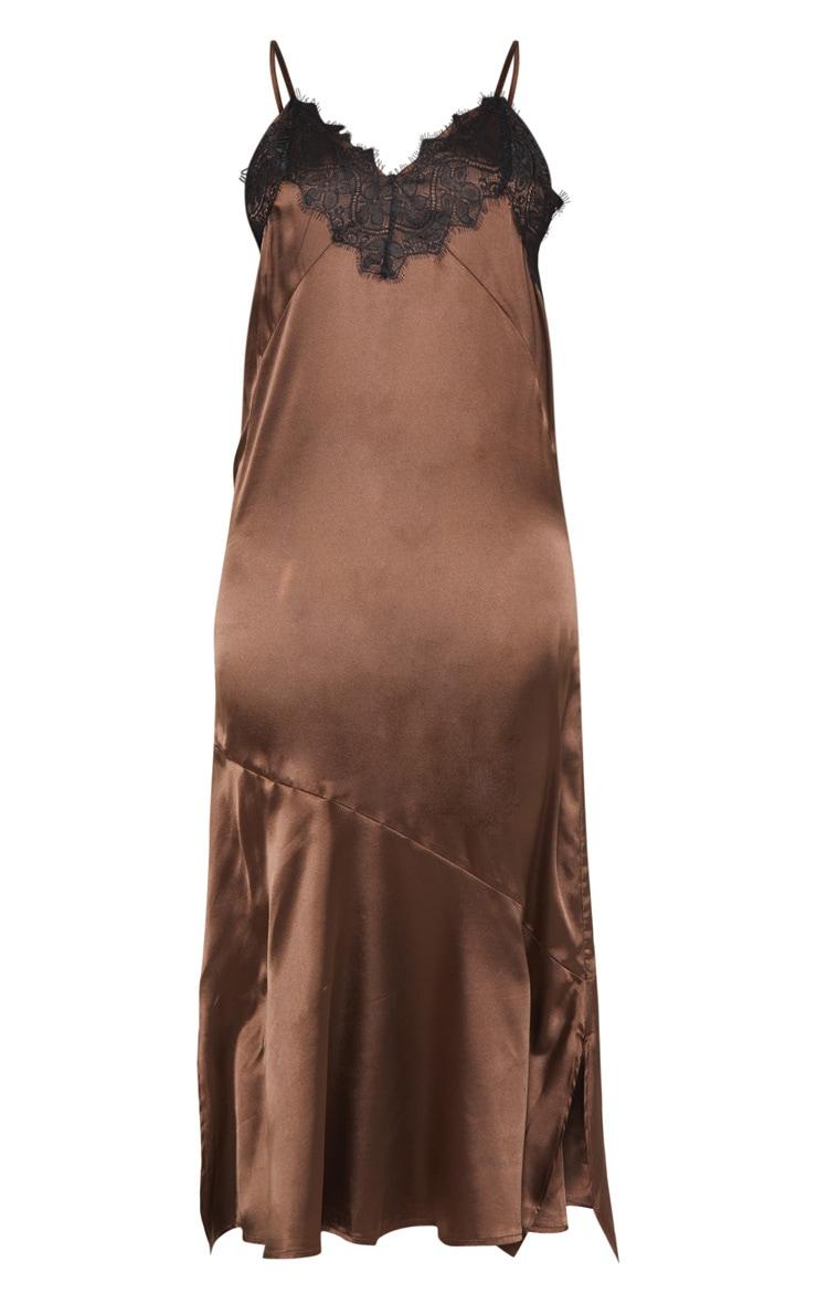 Tall - Robe mi-longue satinée marron 3