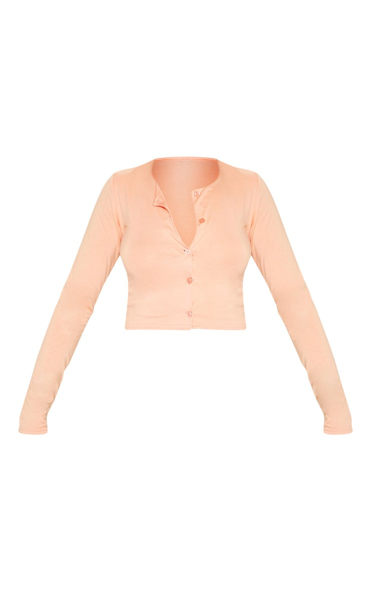 Peach Button Front Long Sleeve Crop Top 3
