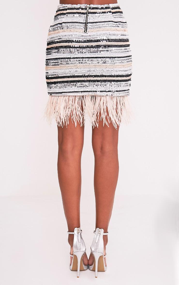 Elva Nude Feather Trim Sequin Mini Skirt 4