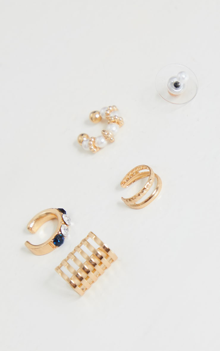 Gold Pearl Ear Cuff and Stud 5 Pack 4