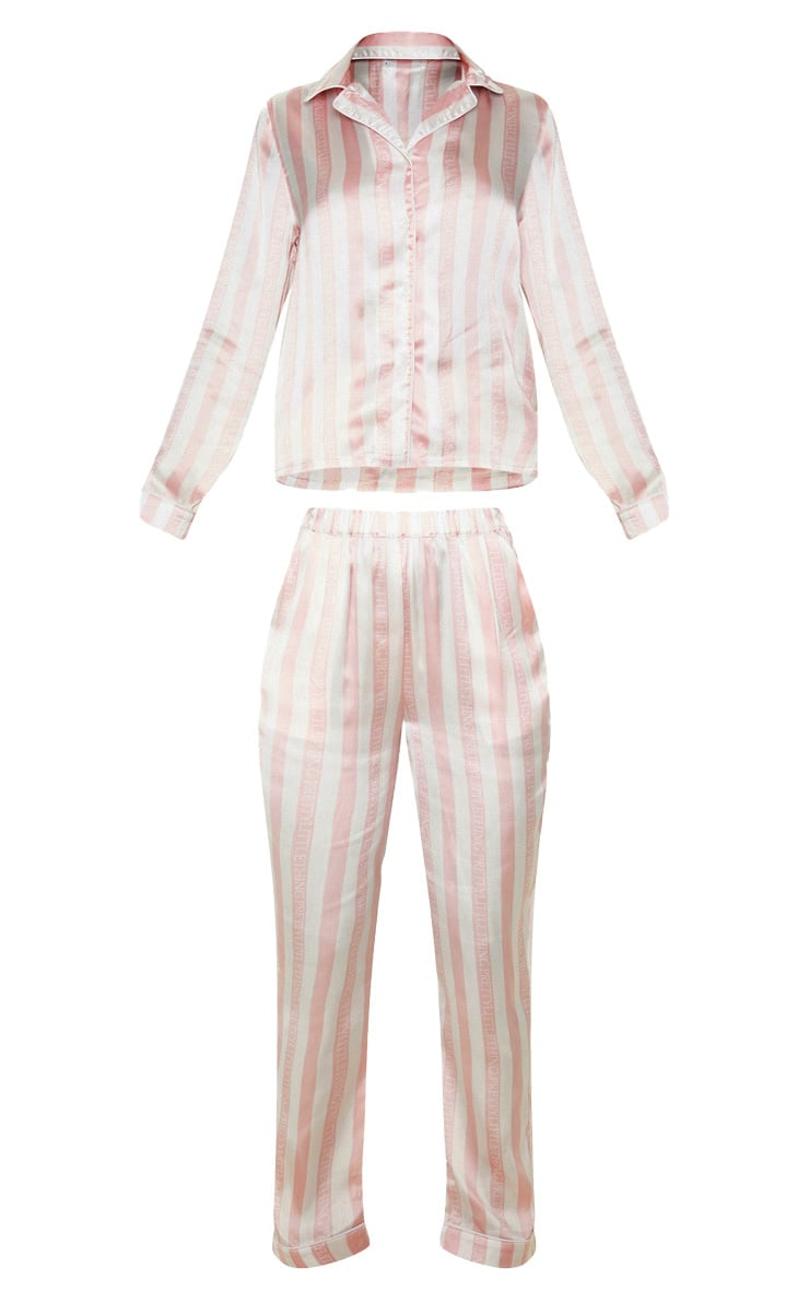 PRETTYLITTLETHING Baby Pink Long Striped Satin PJ Set 3
