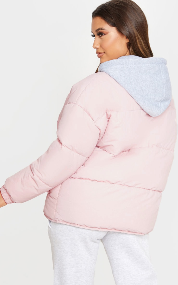Pale Pink Peach Skin Oversized Hooded Puffer 2