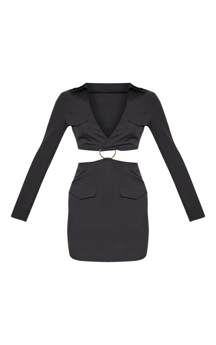 Black Utility Cut Out Bodycon Dress 3