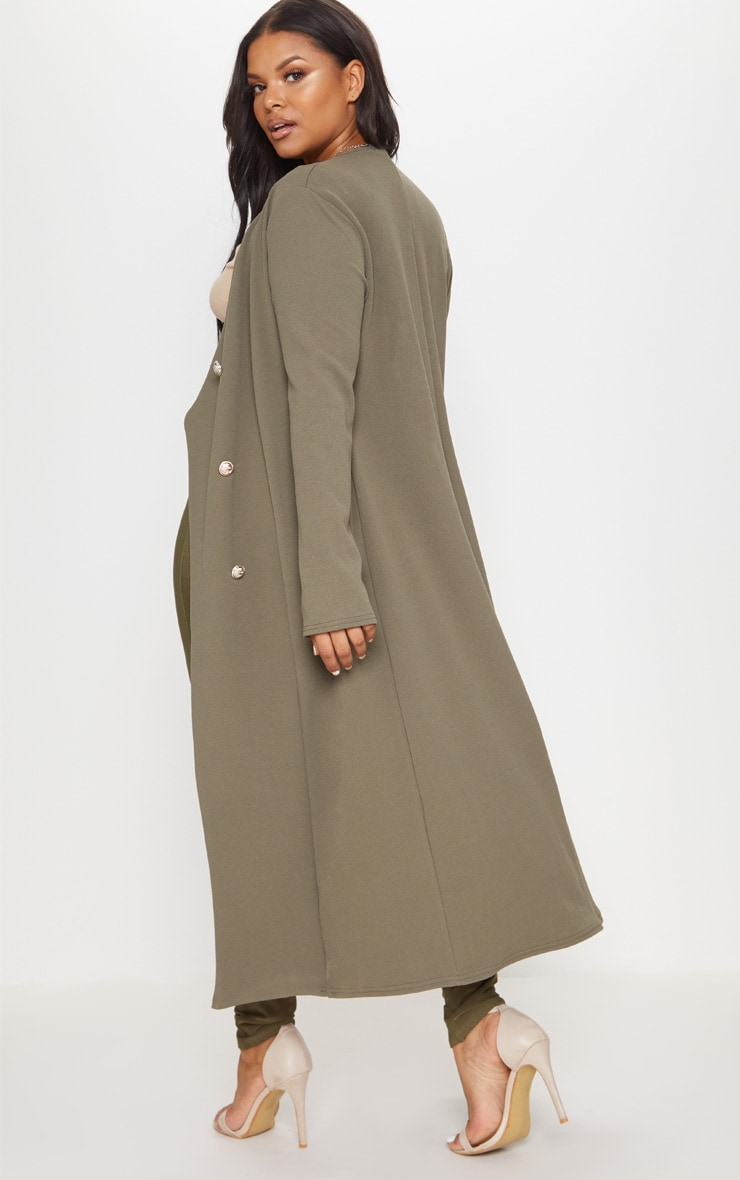 Plus Khaki Military Button Detail Duster Coat 2
