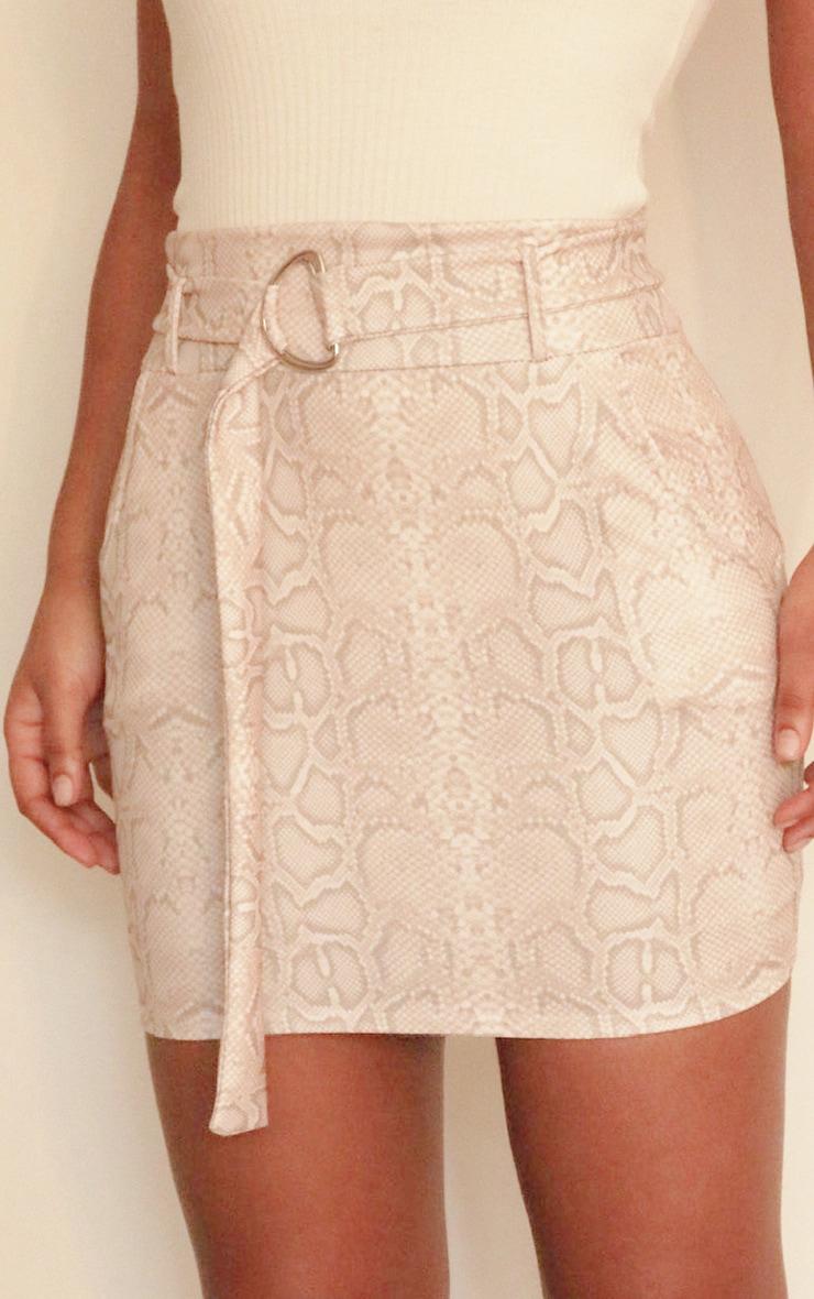 Stone Snake Print D Ring Belted Mini Skirt 4