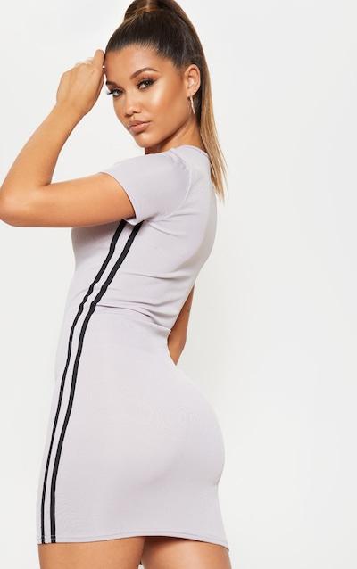 Grey Zip Front Side Stripe Bodycon Dress