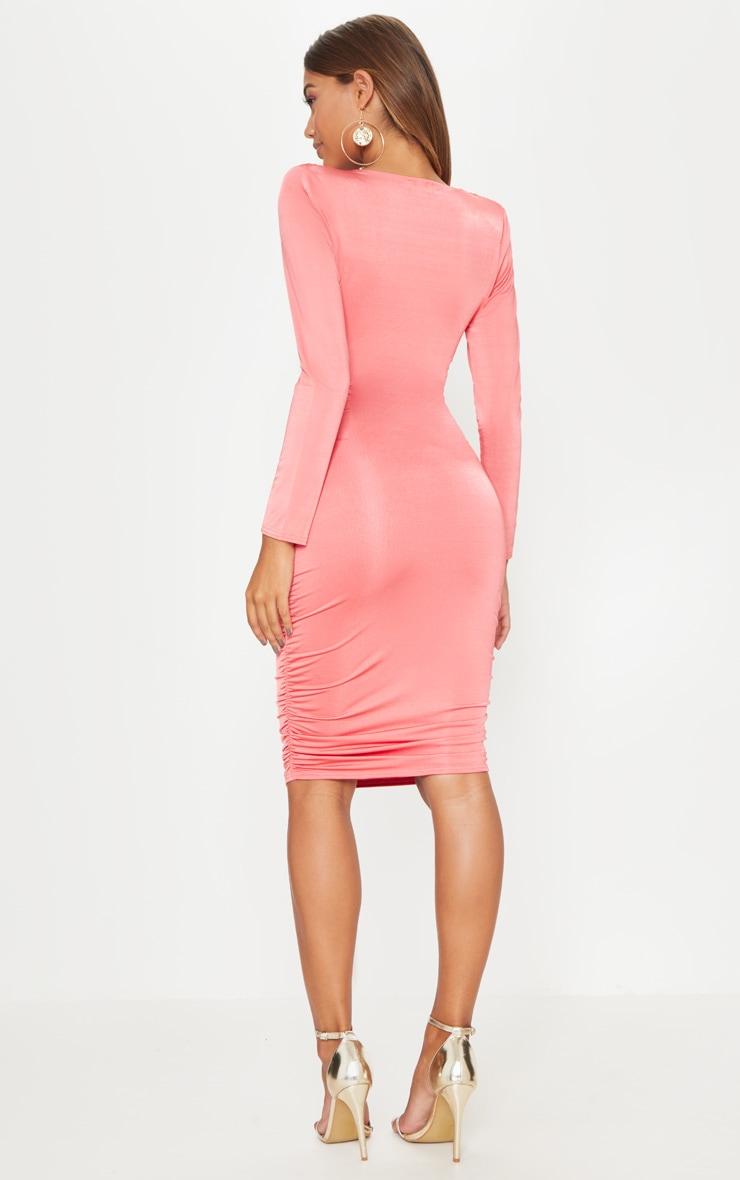 Coral Shoulder Pad Ruched Midi Dress 2