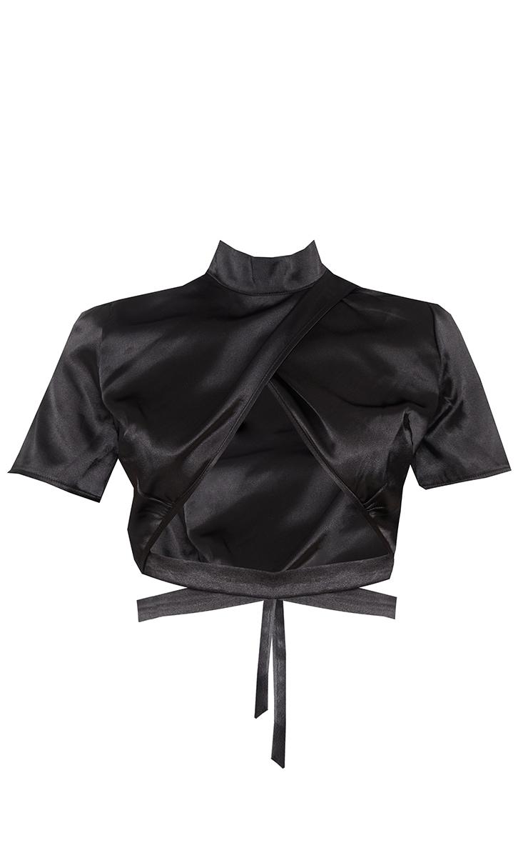 Black Satin Underbust Tie Waist Detail High Neck Short Sleeve Crop Top 5