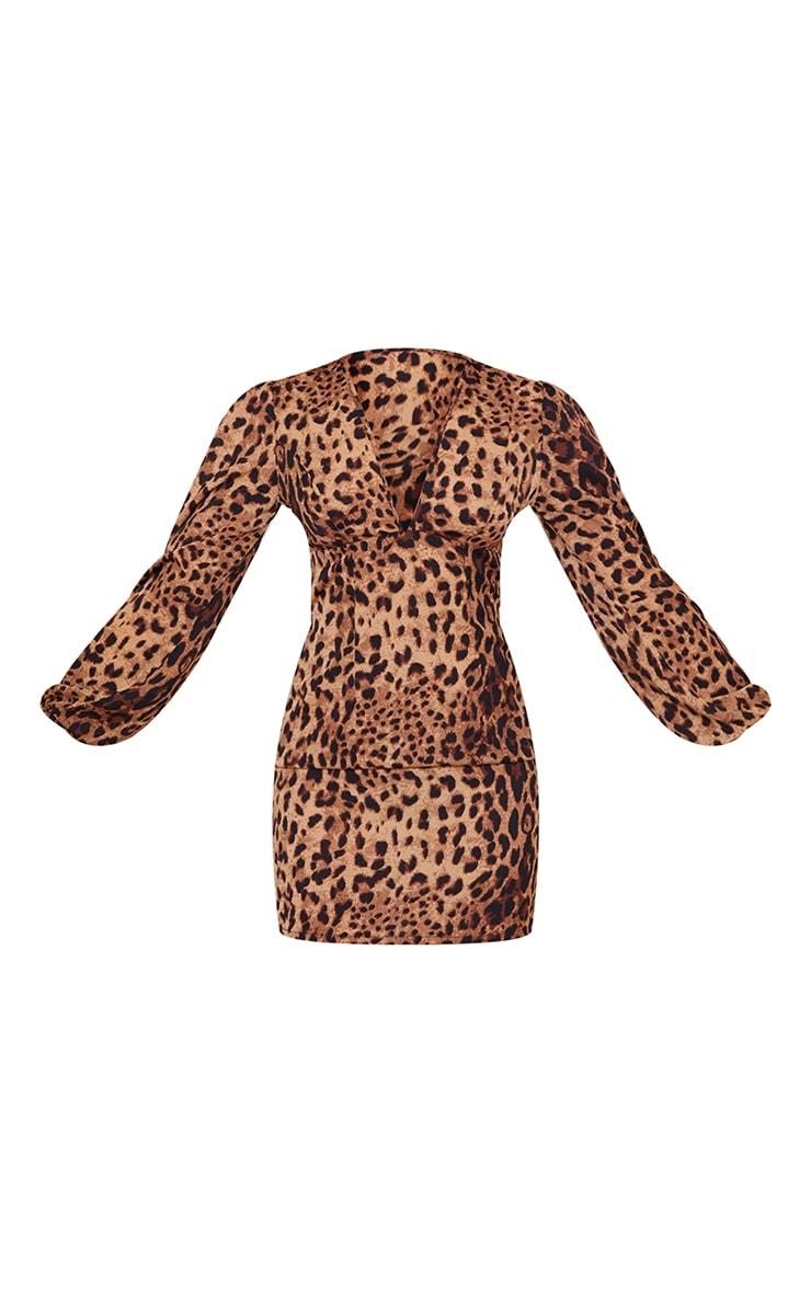 Tan Leopard Print Balloon Sleeve Lace Up Back Bodycon Dress 5