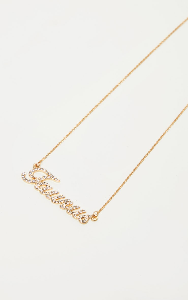 Gold Diamante Taurus Star Sign Necklace 1