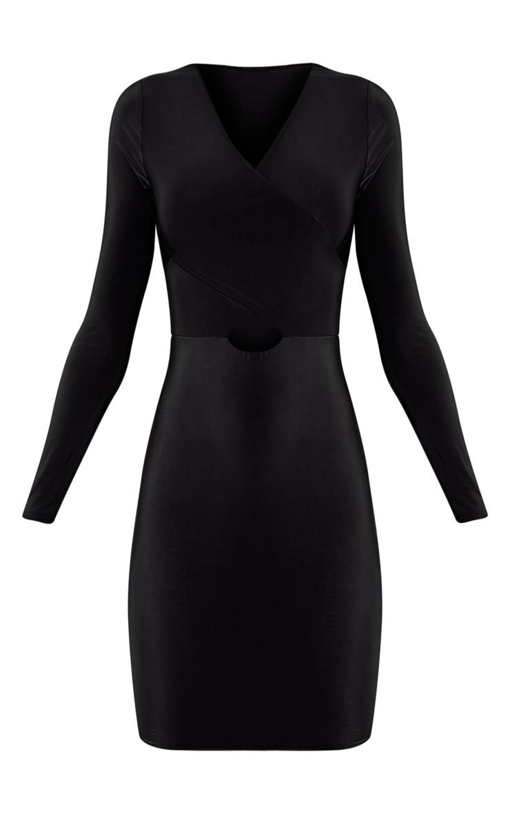 Tamaya robe moulante noire à manches courtes et devant croisé 3