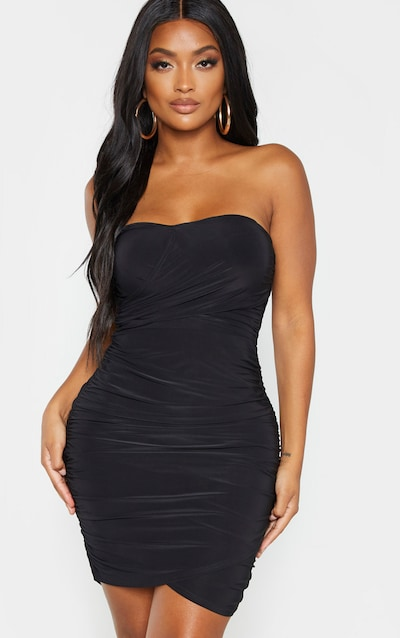 Shape Black Slinky Wrap Detail Ruched Dress