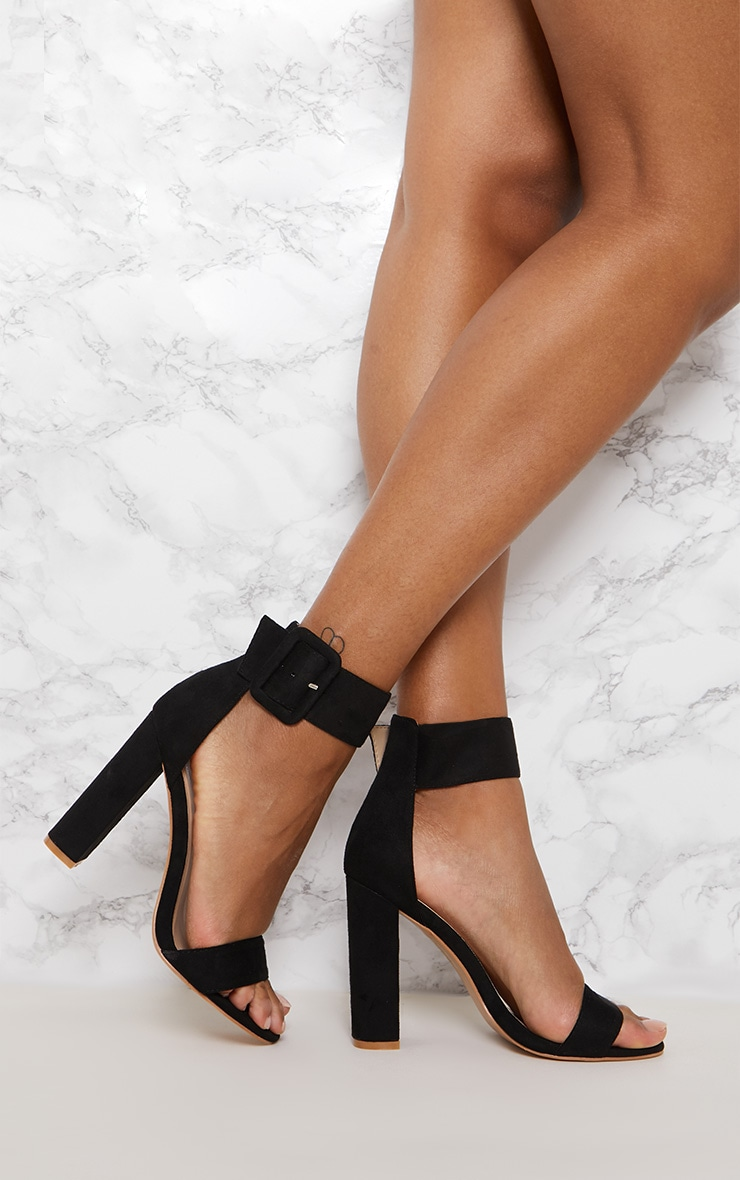Black Ankle Buckle Block Heel  1