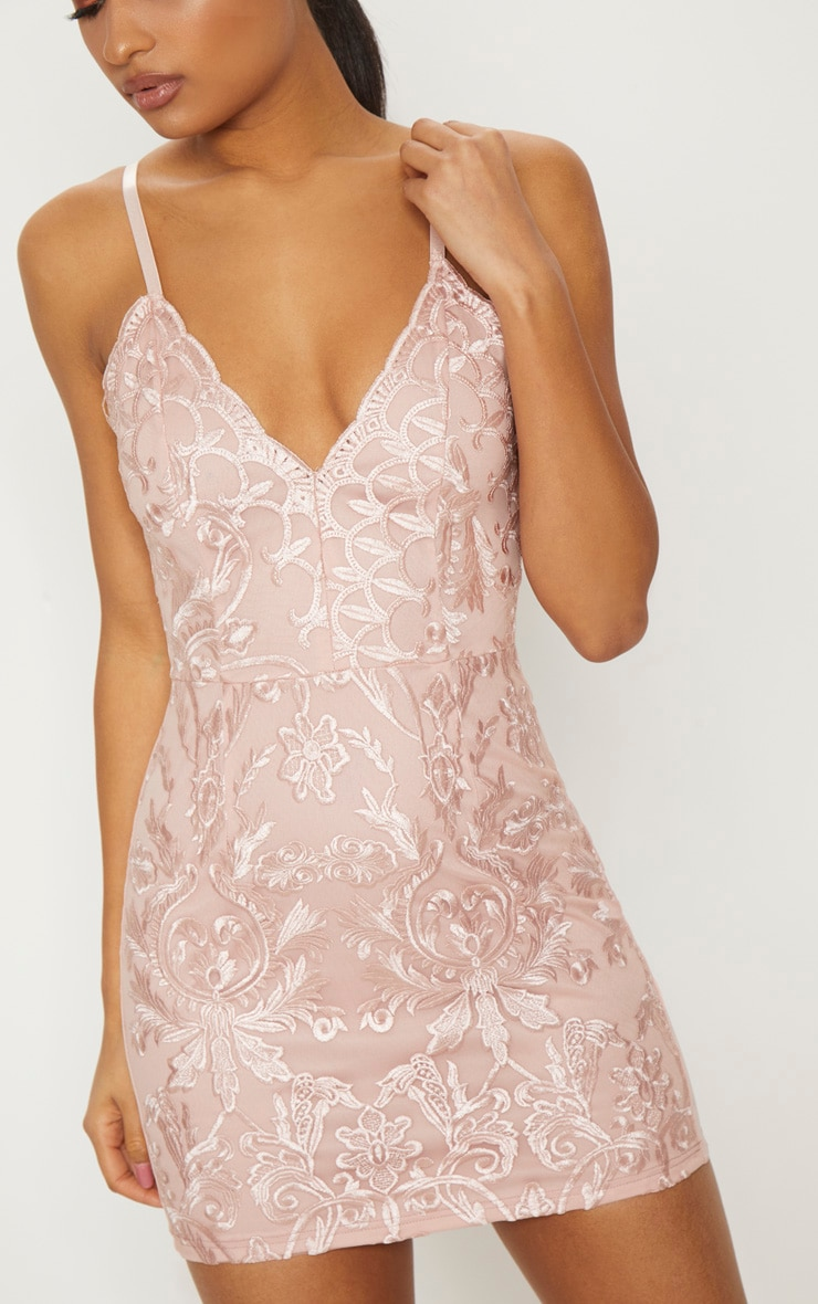 Dusty Pink Embroidered Lace Detail Plunge Bodycon Dress 5