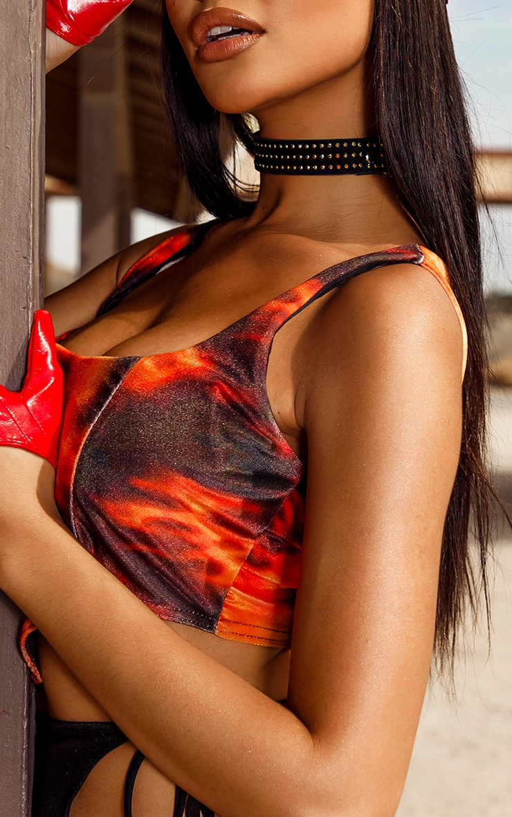 Orange Flame Print Velvet Crop Top 4