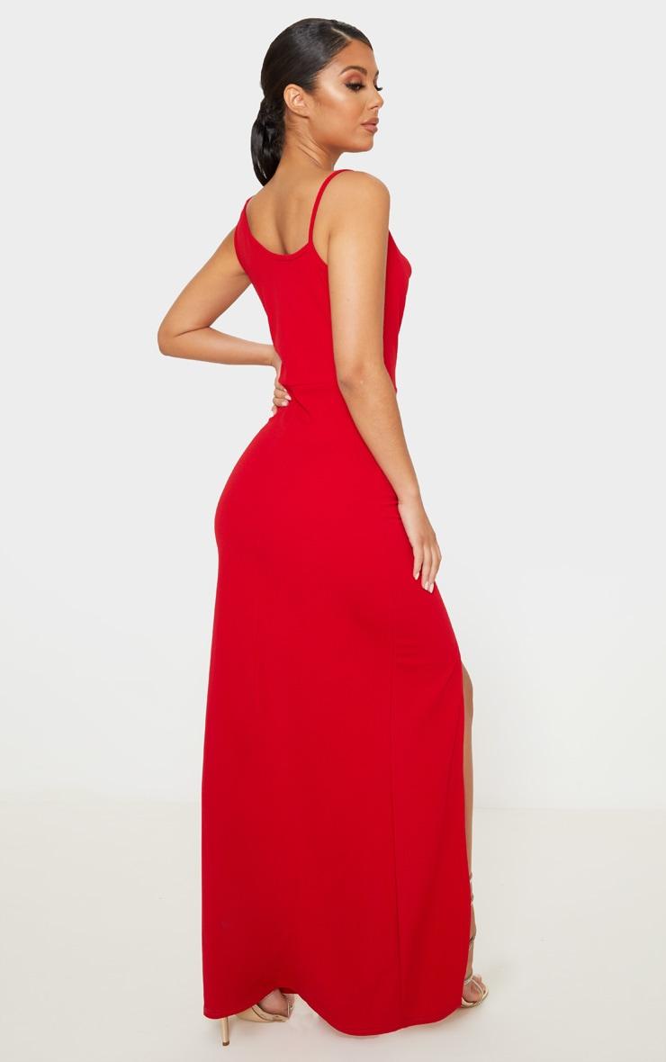Red Asymmetric Cowl Neck Maxi Dress 2
