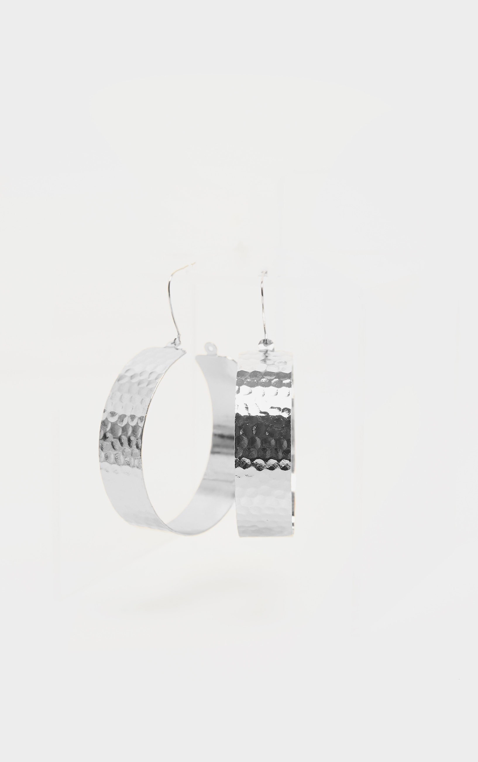 Silver Textured Wide Flat Hoops 2