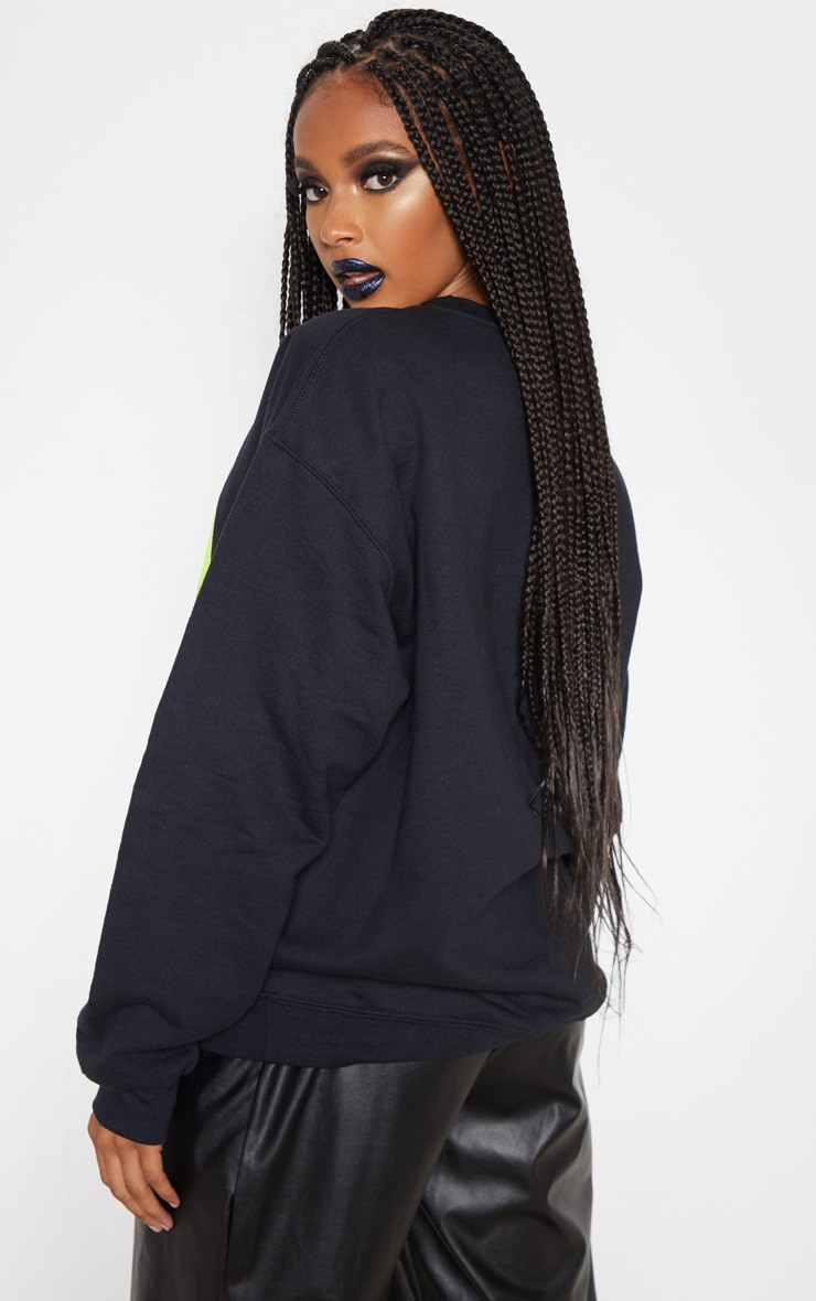Black Neon Skull Print Oversized Sweater 2