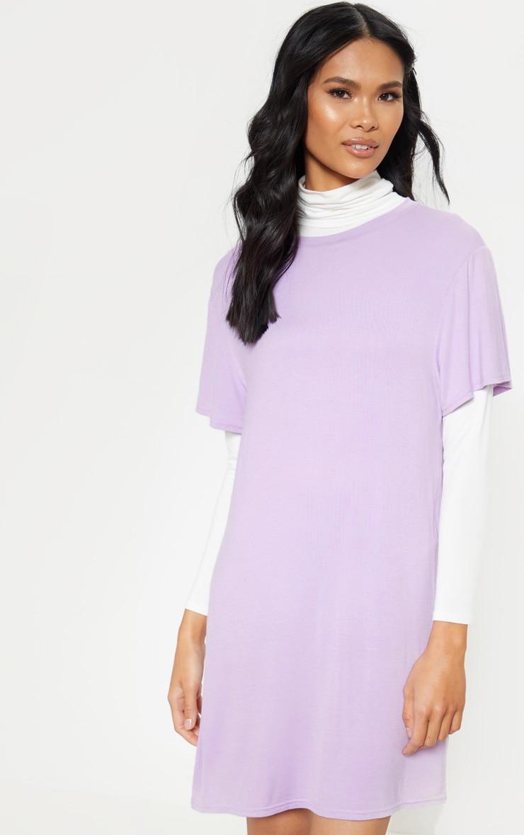 Lilac Short Sleeve T Shirt Dress 4