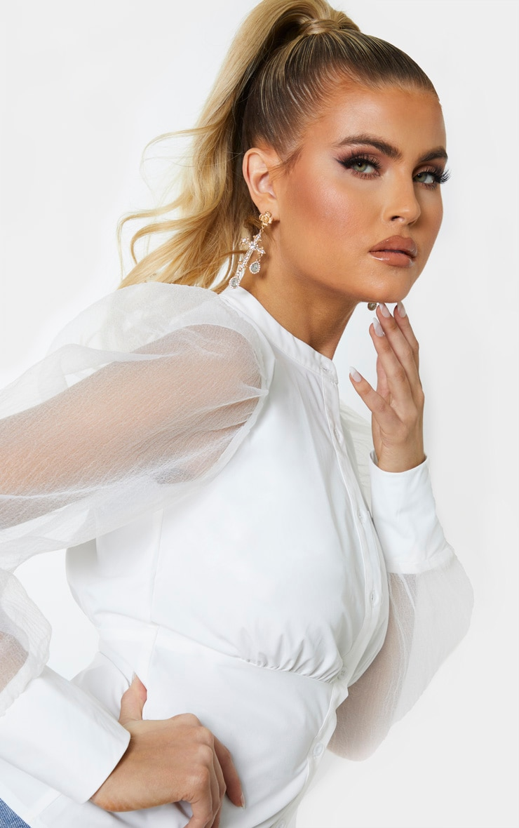 Tall White Organza Oversized Balloon Sleeve Blouse 4