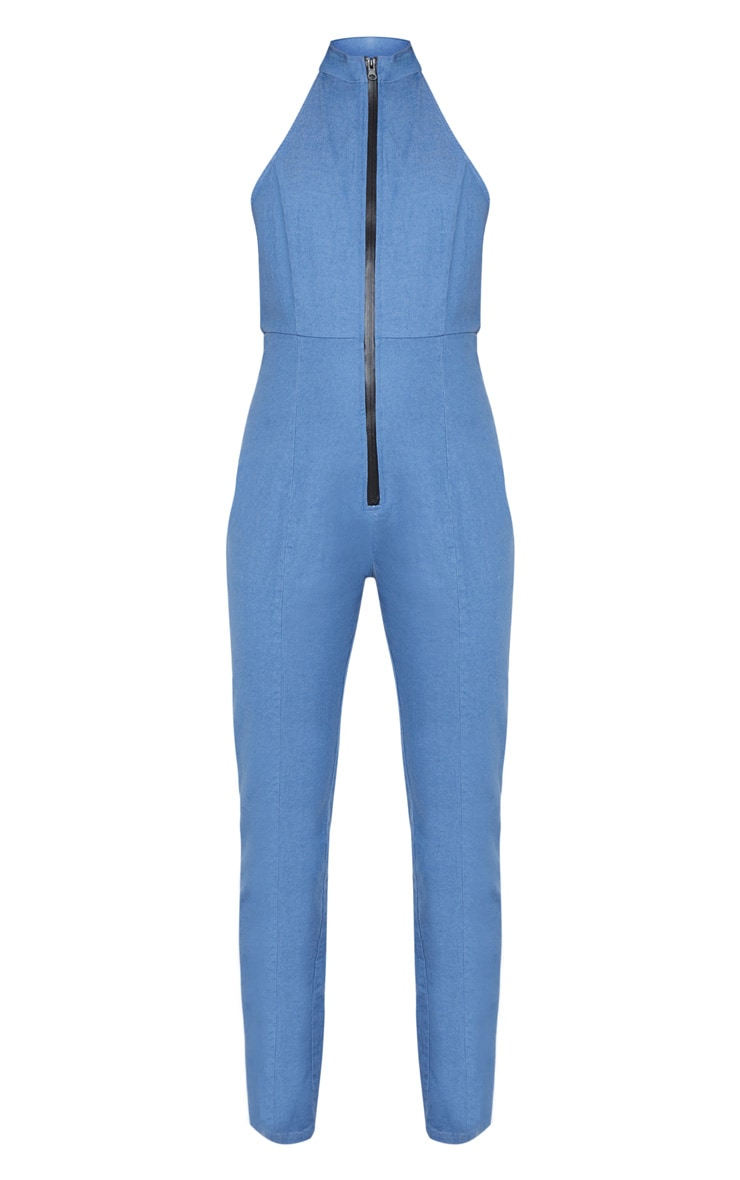 Mid Wash Super Stretch Denim Zip Front Jumpsuit 4