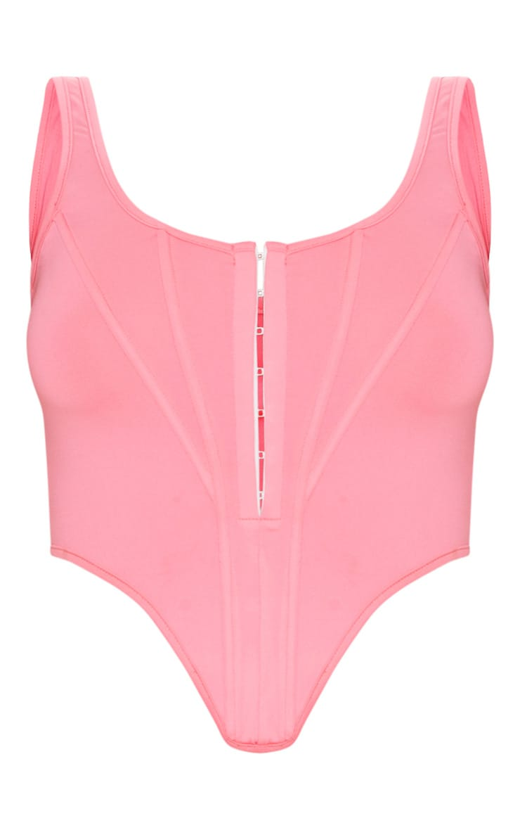 Neon Pink Disco Pointed Hem Cropped Corset 5