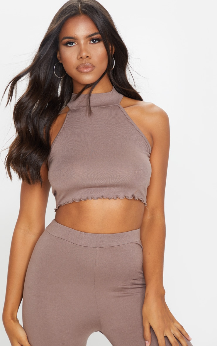Mocha Jersey High Neck Racer Back Crop Top 1