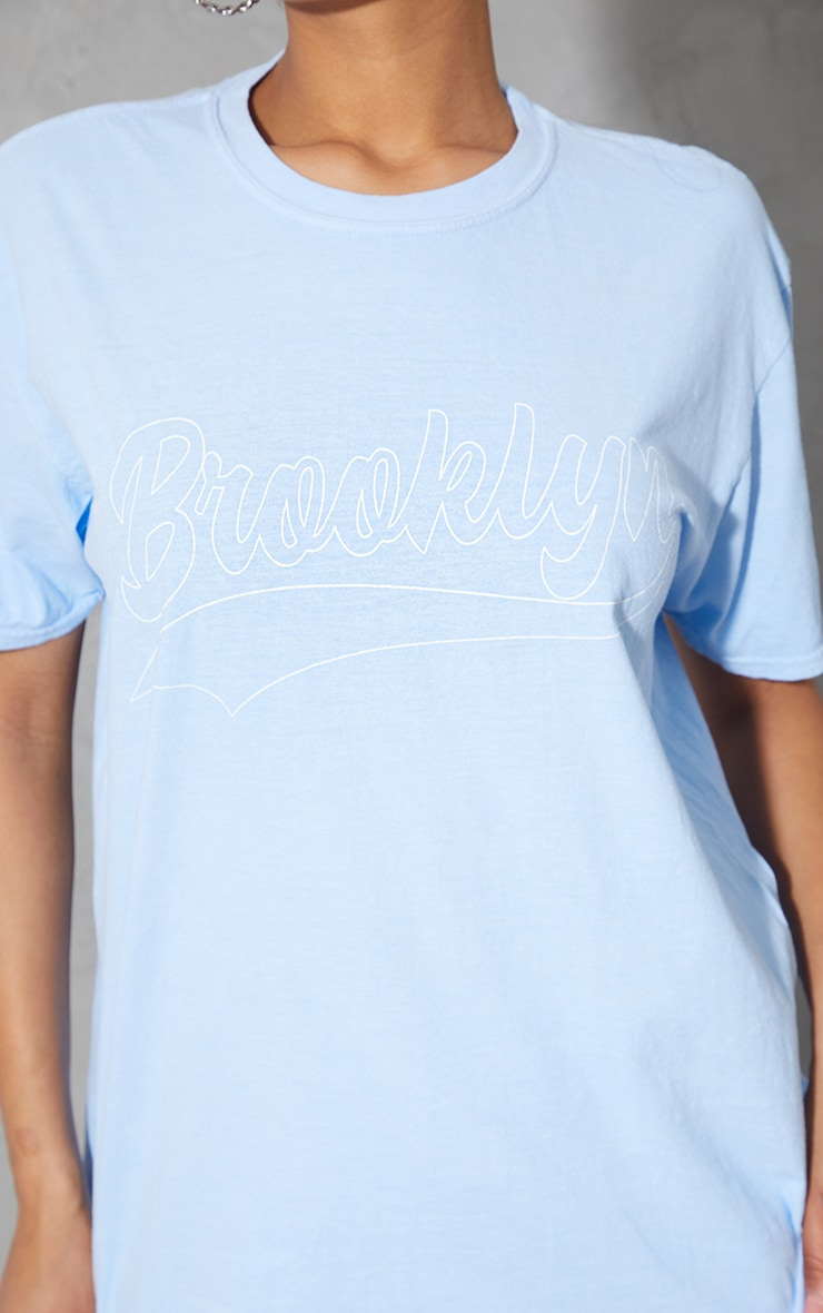 Baby Blue Brooklyn Slogan T Shirt 4