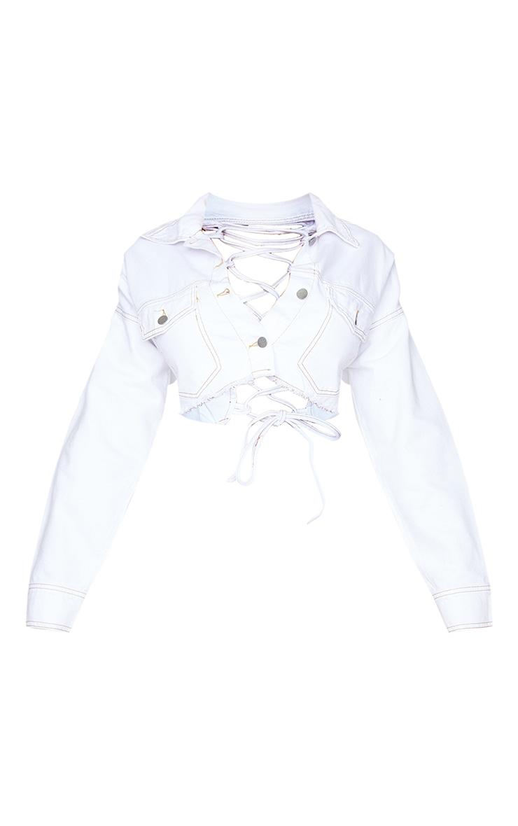 Shape - Veste en jean blanc à lacets dans le dos 5