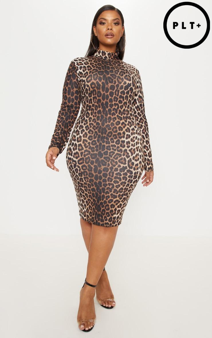 Plus Tan Leopard Print High Neck Midi Dress