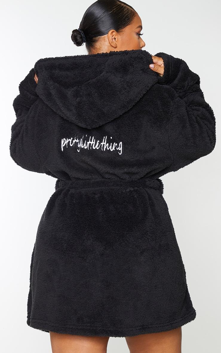 PRETTYLITTLETHING Plus Black Fluffy Dressing Gown 2