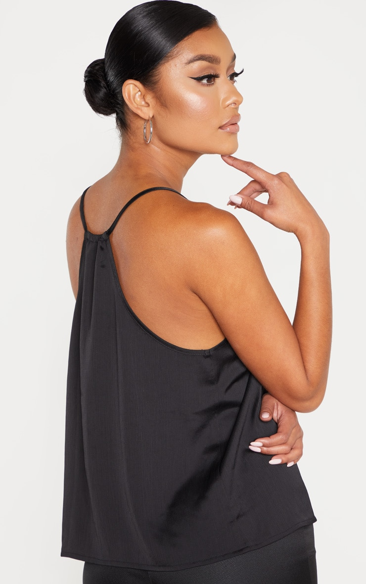 Black Satin V Neck Cami 2