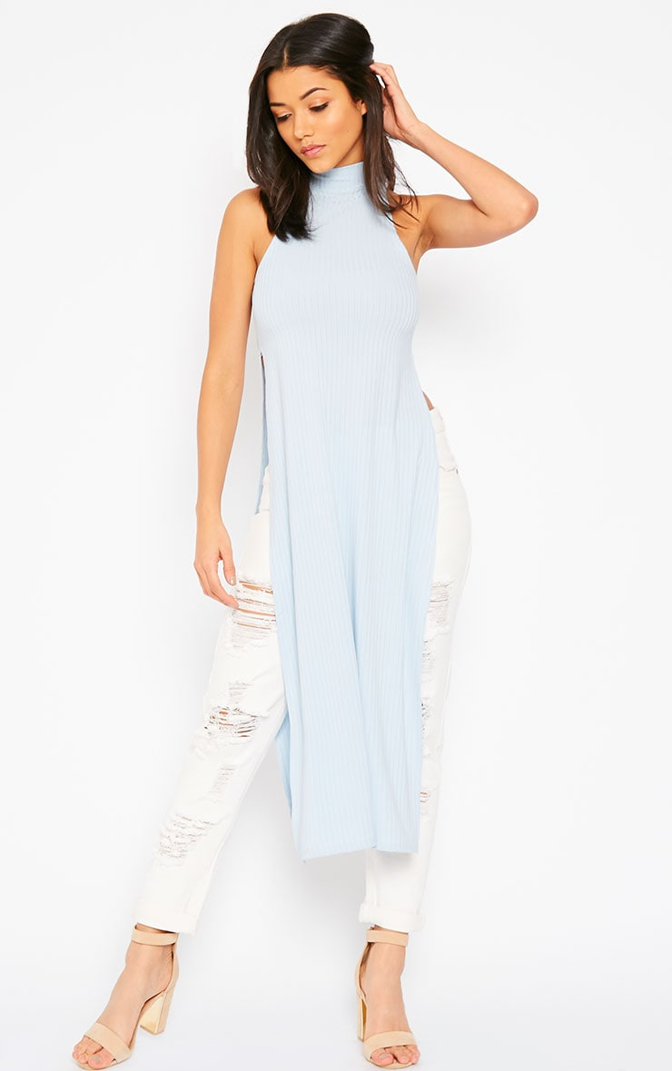 Aaralyn Powder Blue Ribbed Side Split Dress 3